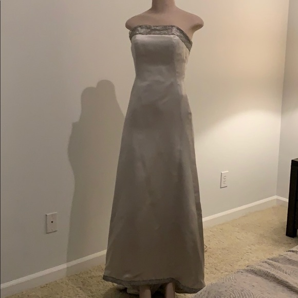 Peter Langner Dresses & Skirts - Silver Satin Italian Wedding Dress with crown